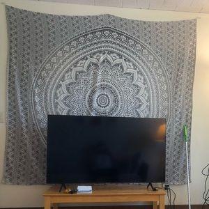Extra large grey and white mandala tapestry